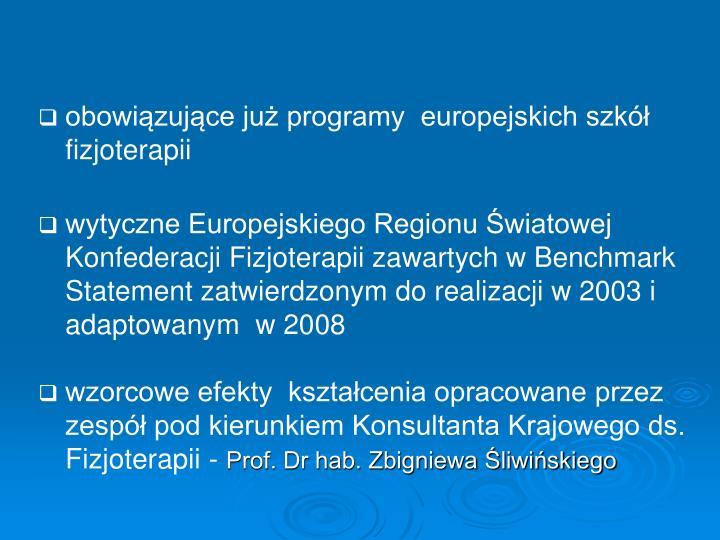 obowiązujące już programy  europejskich szkół fizjoterapii