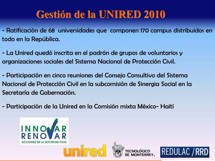 Ratificación de 68  universidades que  componen 170 campus distribuidos en   todo en la República.