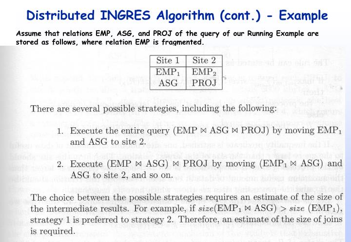 Distributed INGRES Algorithm (cont.) - Example
