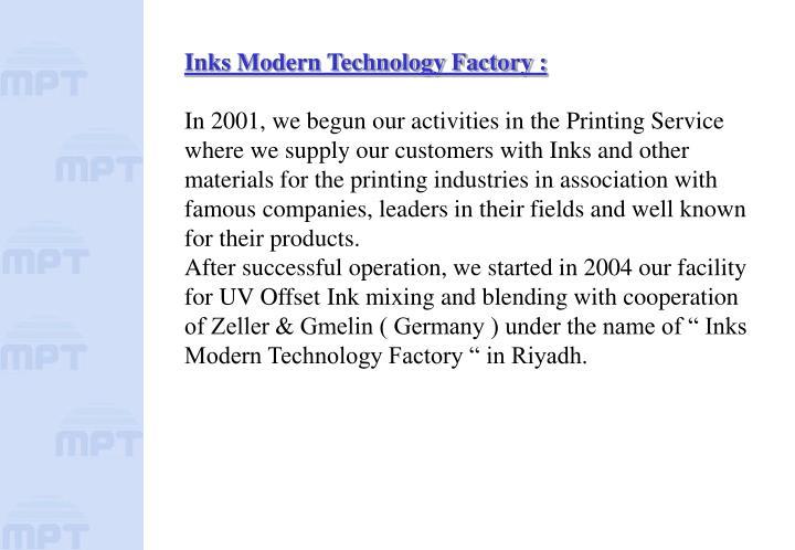 Inks Modern Technology Factory :