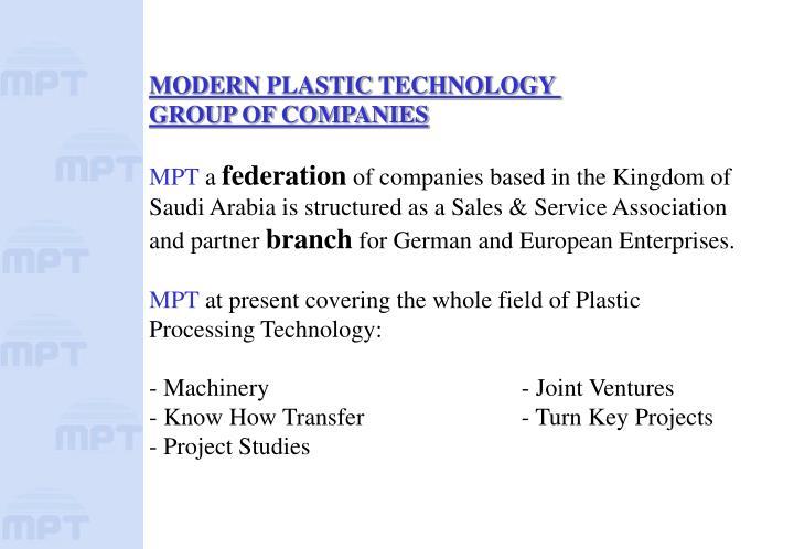 MODERN PLASTIC TECHNOLOGY