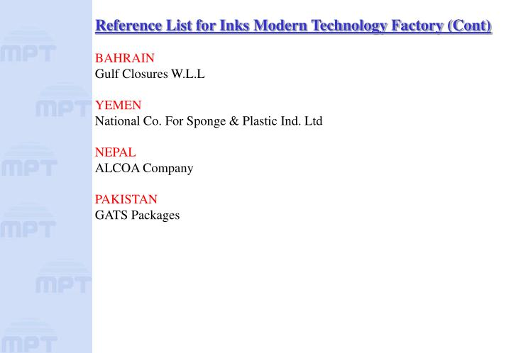Reference List for Inks Modern Technology Factory (Cont)