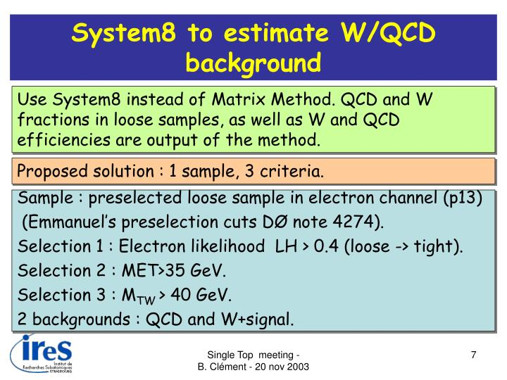 System8 to estimate W/QCD background