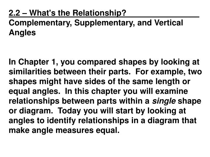 2.2 – What's the Relationship?________________