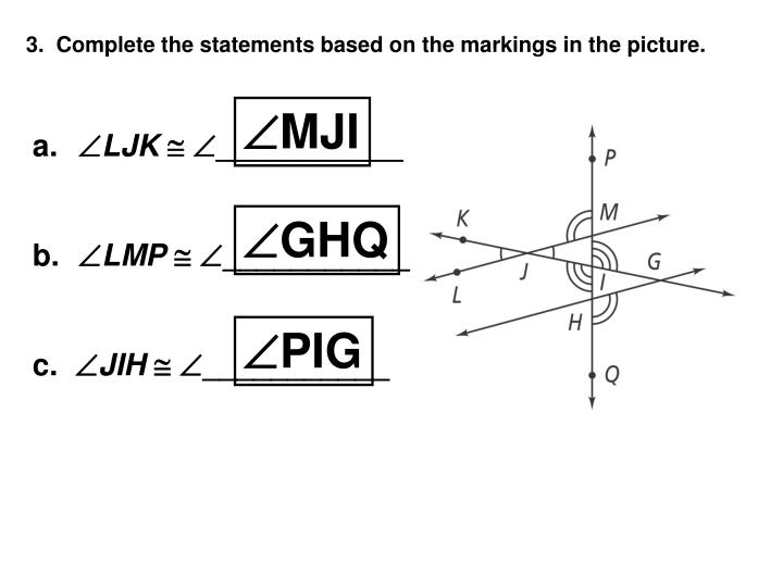 3.  Complete the statements based on the markings in the picture.