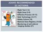 jcaho recommended 21 actions