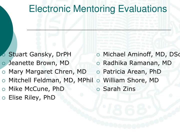Electronic mentoring evaluations