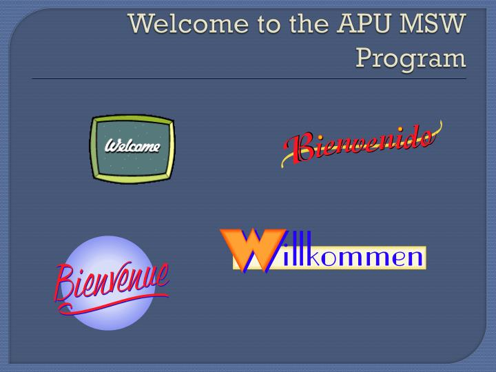 Welcome to the apu msw program