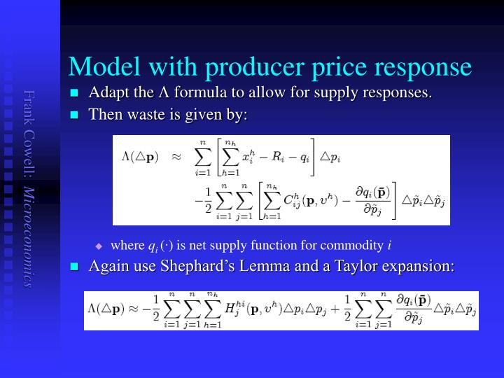 Model with producer price response