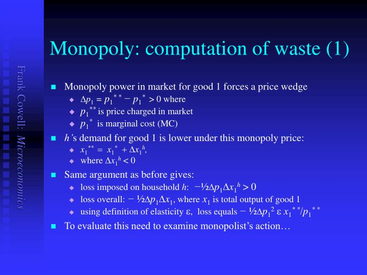 Monopoly: computation of waste (1)