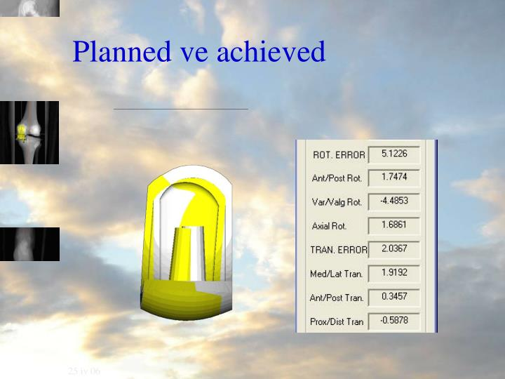 Planned ve achieved