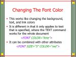 changing the font color