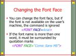 changing the font face