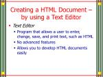 creating a html document by using a text editor