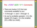 the font size command