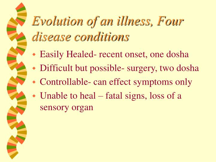 Evolution of an illness, Four disease conditions