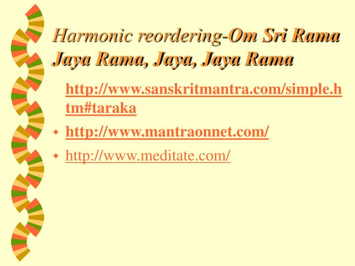 Harmonic reordering-