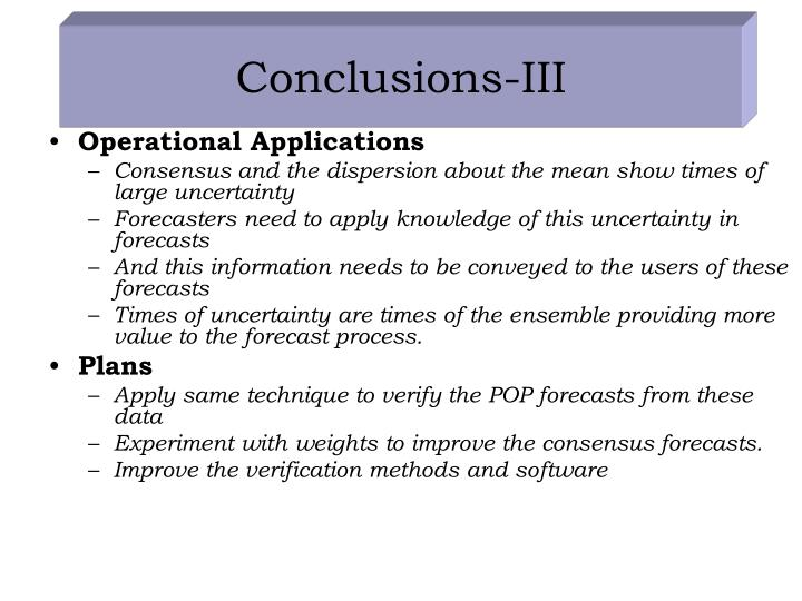 Conclusions-III