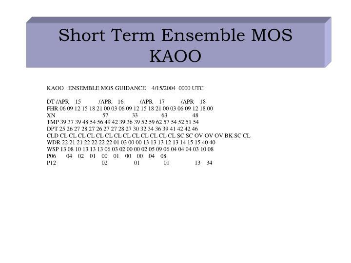 Short Term Ensemble MOS