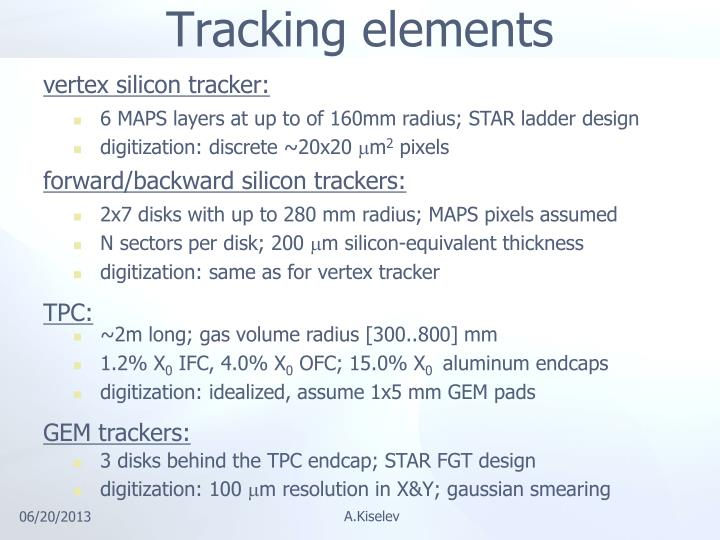 Tracking elements