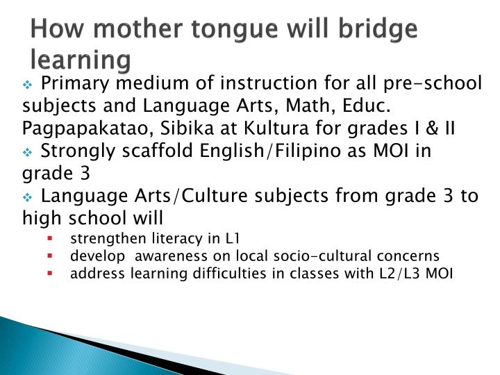 How mother tongue will bridge learning
