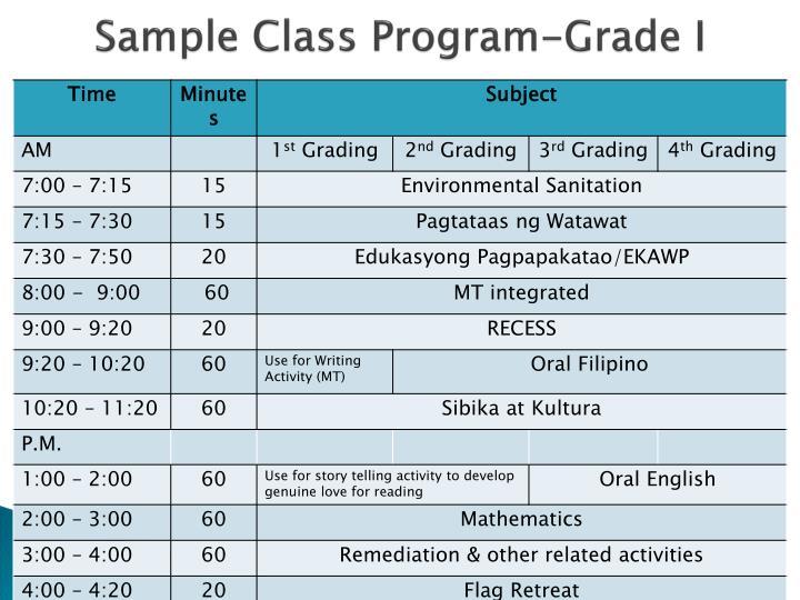 Sample Class Program-Grade I