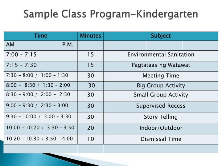 Sample Class Program-Kindergarten