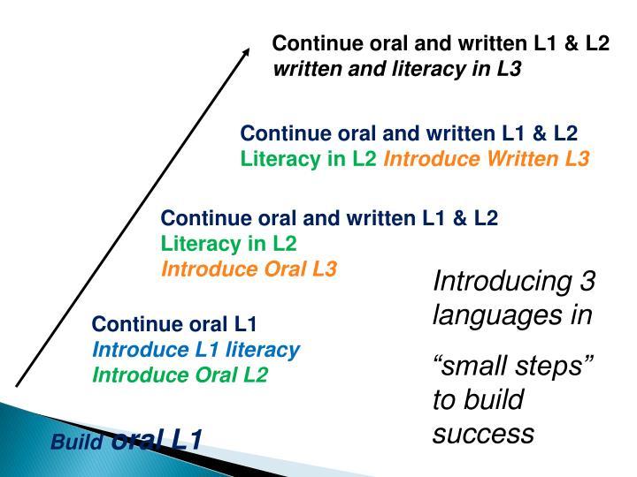 Continue oral and written L1 & L2