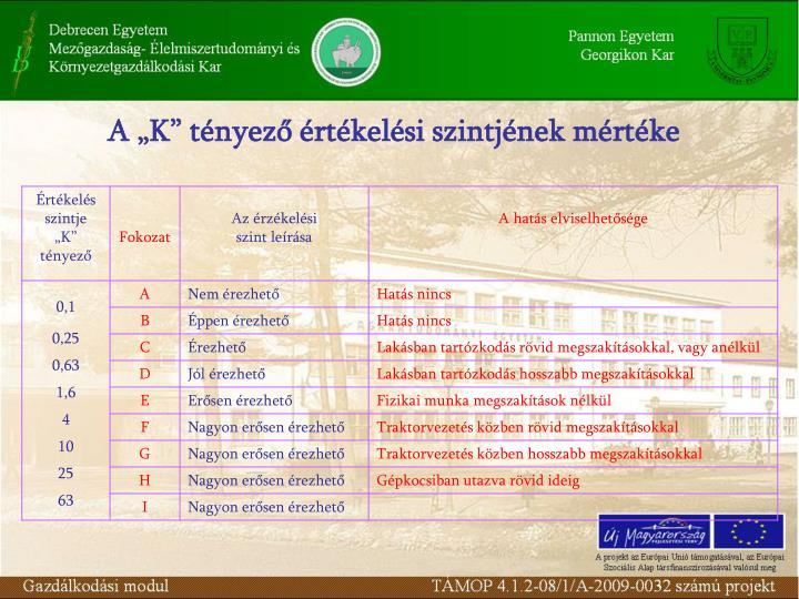 """A """"K"""" tényező értékelési szintjének mértéke"""