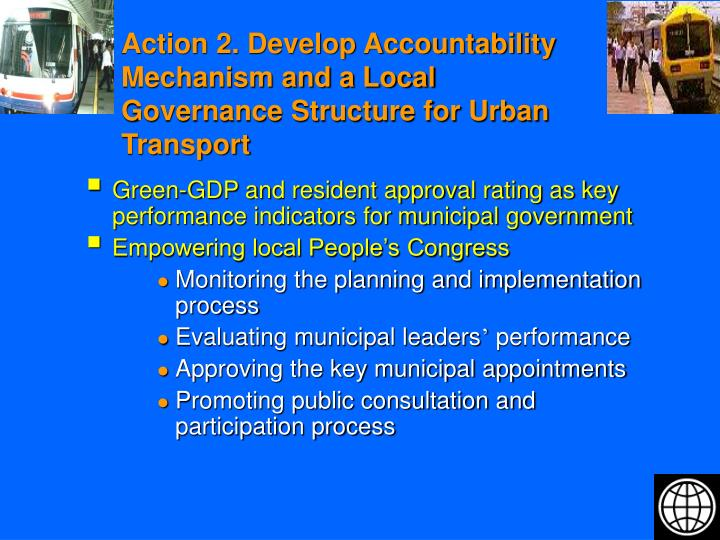 Action 2. Develop Accountability Mechanism and a Local Governance Structure for Urban Transport