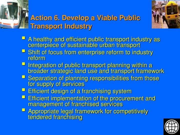 Action 6. Develop a Viable Public Transport Industry