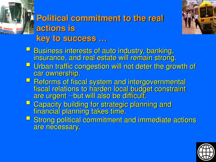 Political commitment to the real actions is