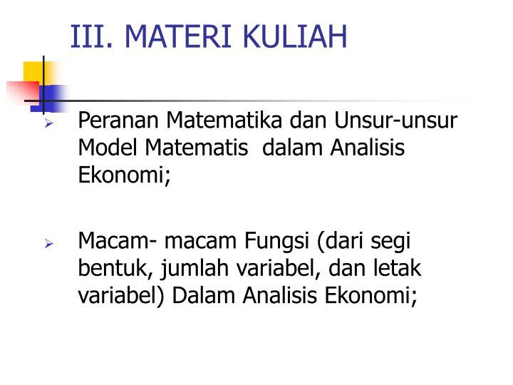 III. MATERI KULIAH