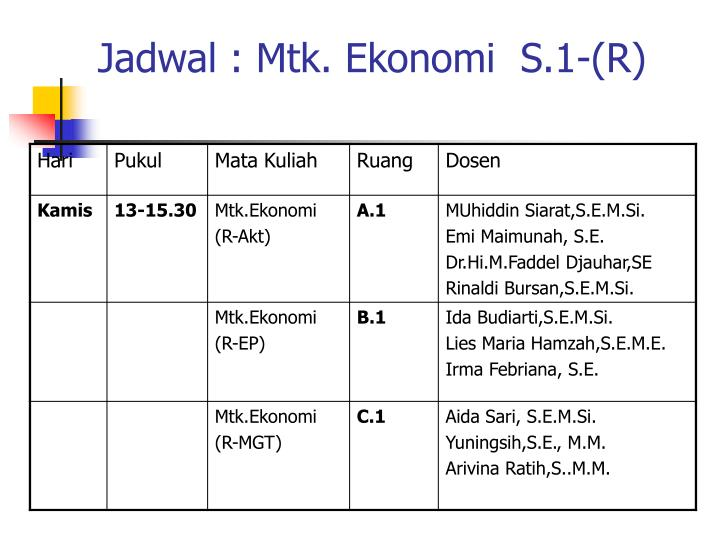 Jadwal : Mtk. Ekonomi  S.1-(R)