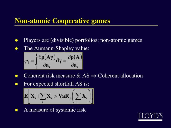 Non-atomic Cooperative games