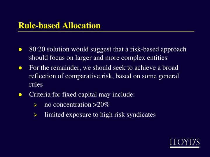 Rule-based Allocation
