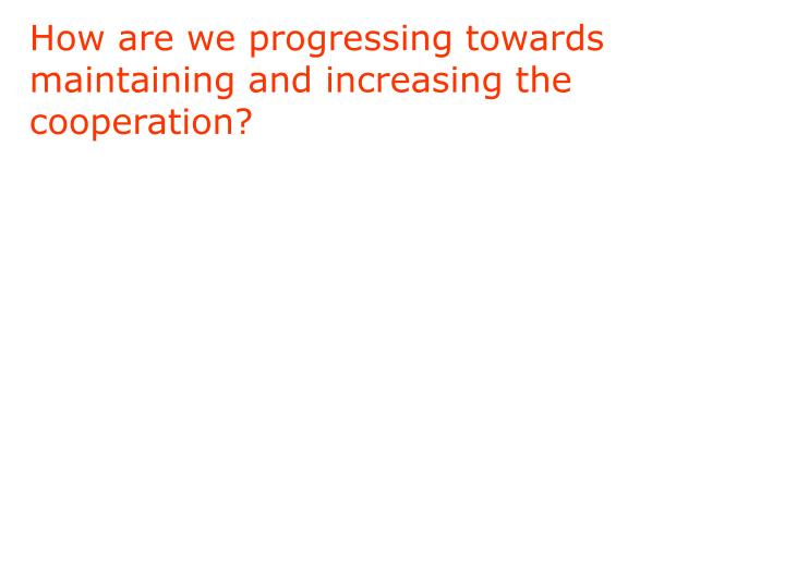 How are we progressing towards maintaining and increasing the cooperation?