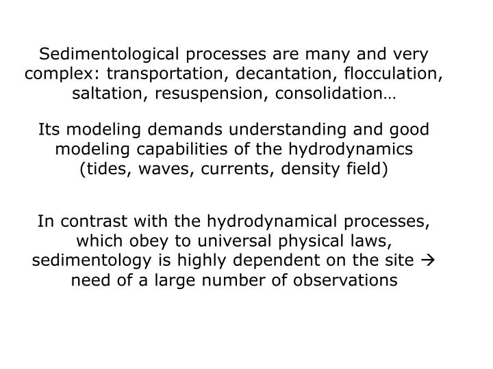Sedimentological processes are many and very complex: transportation, decantation, flocculation, saltation, resuspension, consolidation…