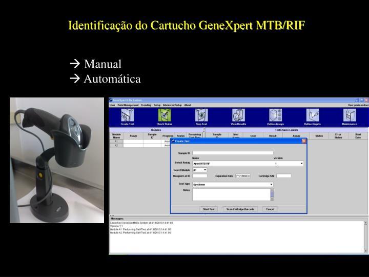 Identificação do Cartucho GeneXpert MTB/RIF