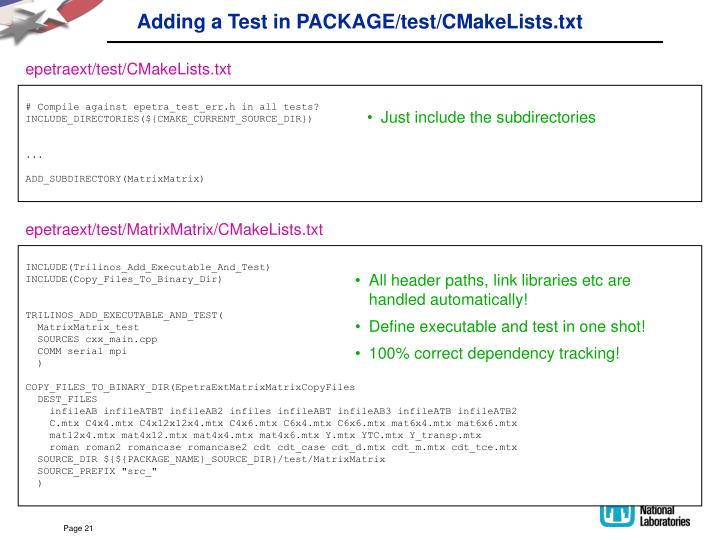 Adding a Test in PACKAGE/test/CMakeLists.txt