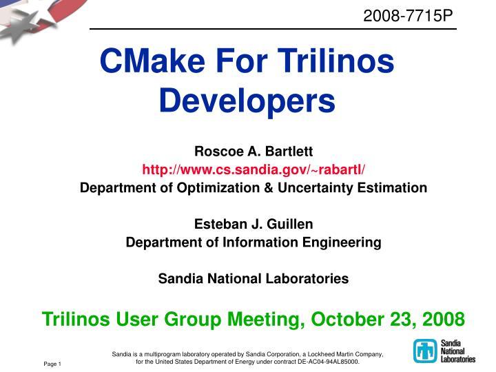 Cmake for trilinos developers