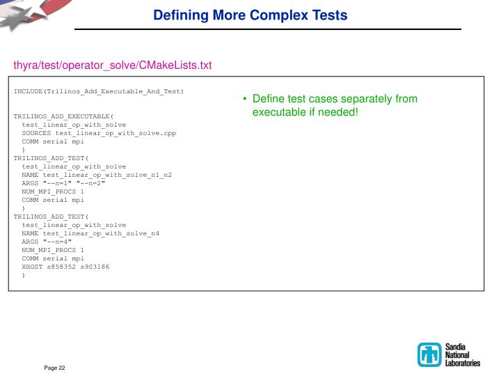 Defining More Complex Tests