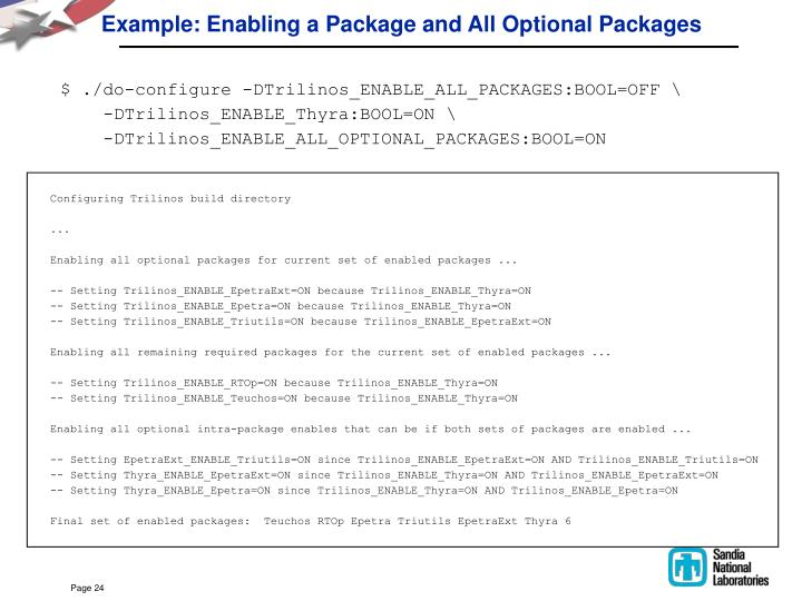 Example: Enabling a Package and All Optional Packages