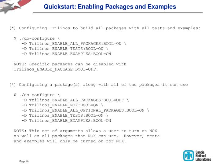 Quickstart: Enabling Packages and Examples
