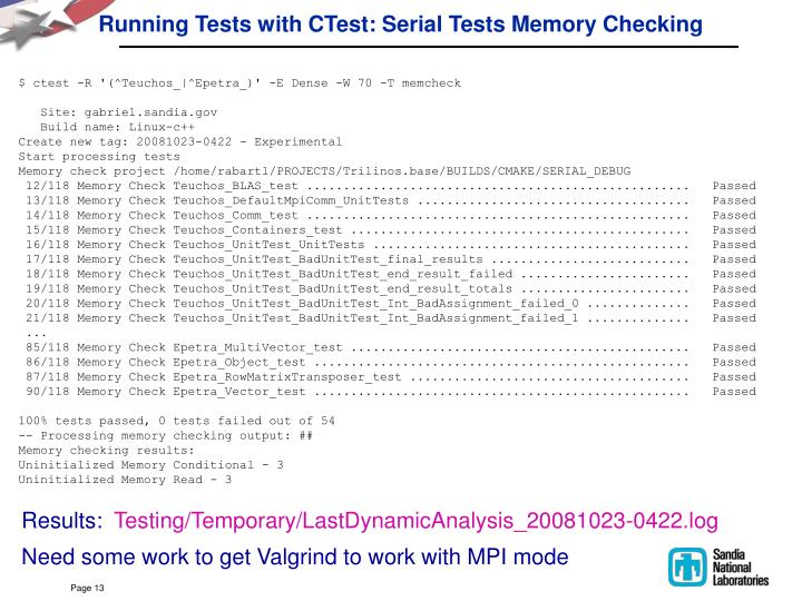 Running Tests with CTest: Serial Tests Memory Checking