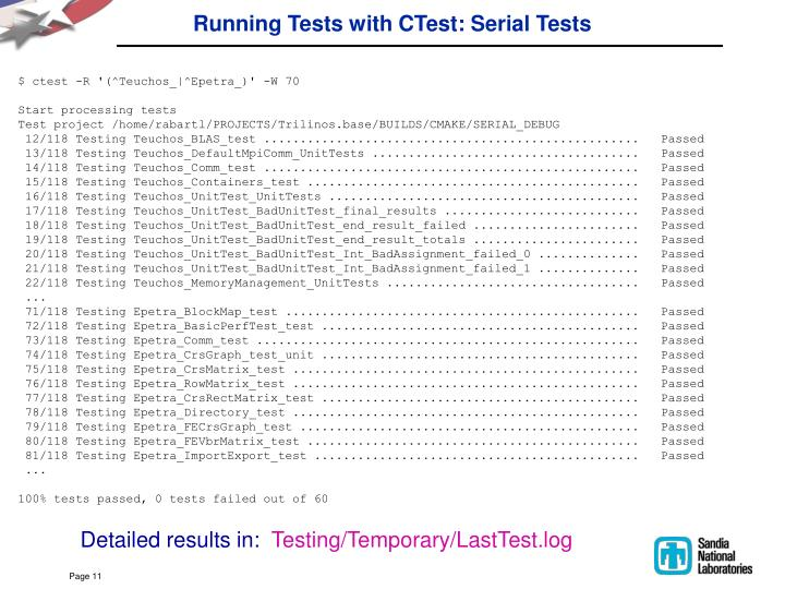 Running Tests with CTest: Serial Tests