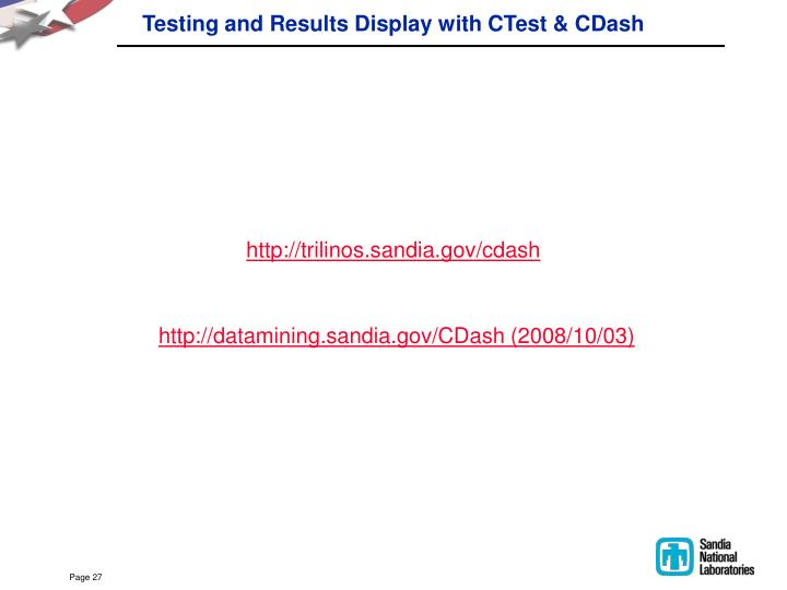 Testing and Results Display with CTest & CDash