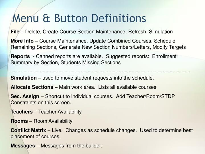 Menu & Button Definitions