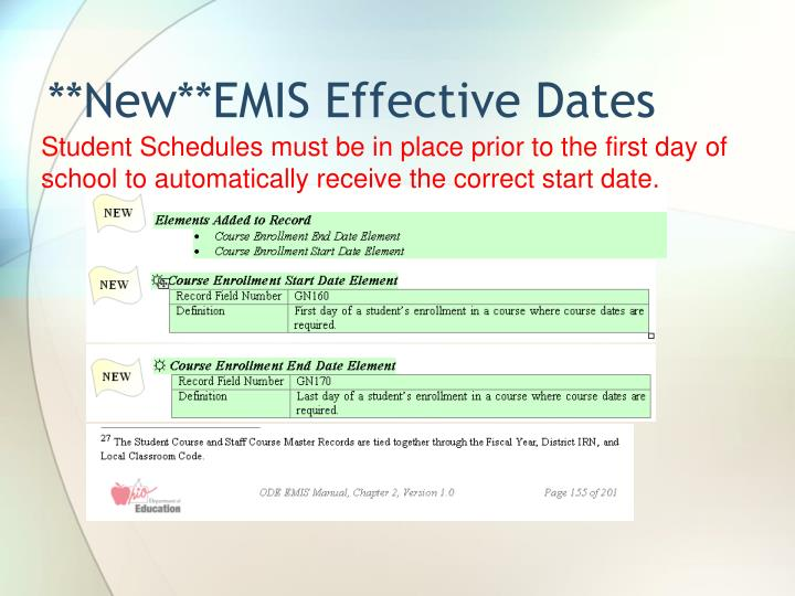 **New**EMIS Effective Dates