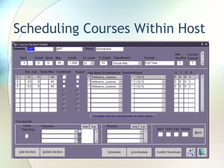 Scheduling Courses Within Host